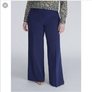 Lane Bryant navy wide leg pants
